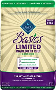 Blue Buffalo Basics Limited Ingredient Diet Grain Free, Natural Indoor Mature Dry Cat Food, Turkey & Potato
