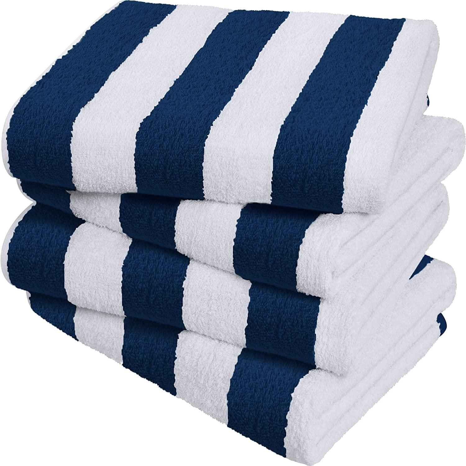 Utopia Towels Cabana Stripe Beach Towels, Navy, (30 x 60 Inches) - 100% Ring Spun Cotton Large Pool Towels, Soft and Quick Dry Swim Towels (Pack of 4)