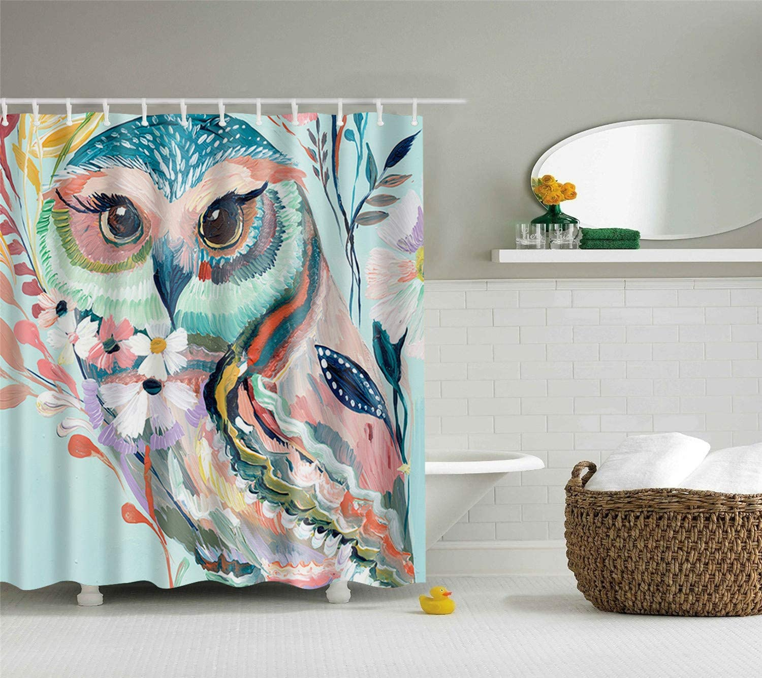 hipaopao Watercolor Owl Digital Printing Cute Fabric Shower Curtain Sets  Bathroom Decor with Hooks Waterproof Washable 10 x 10 inches Blue Green  Black