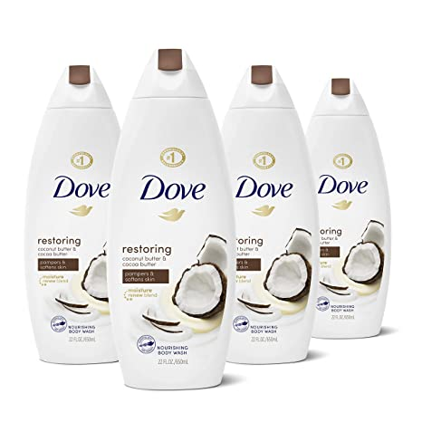 Amazon Com Dove Restoring Body Wash Pampers Softens Skin Coconut Butter And Cocoa Butter Effectively Washes Away Bacteria While Nourishing Your Skin 22 Oz 4 Count Beauty