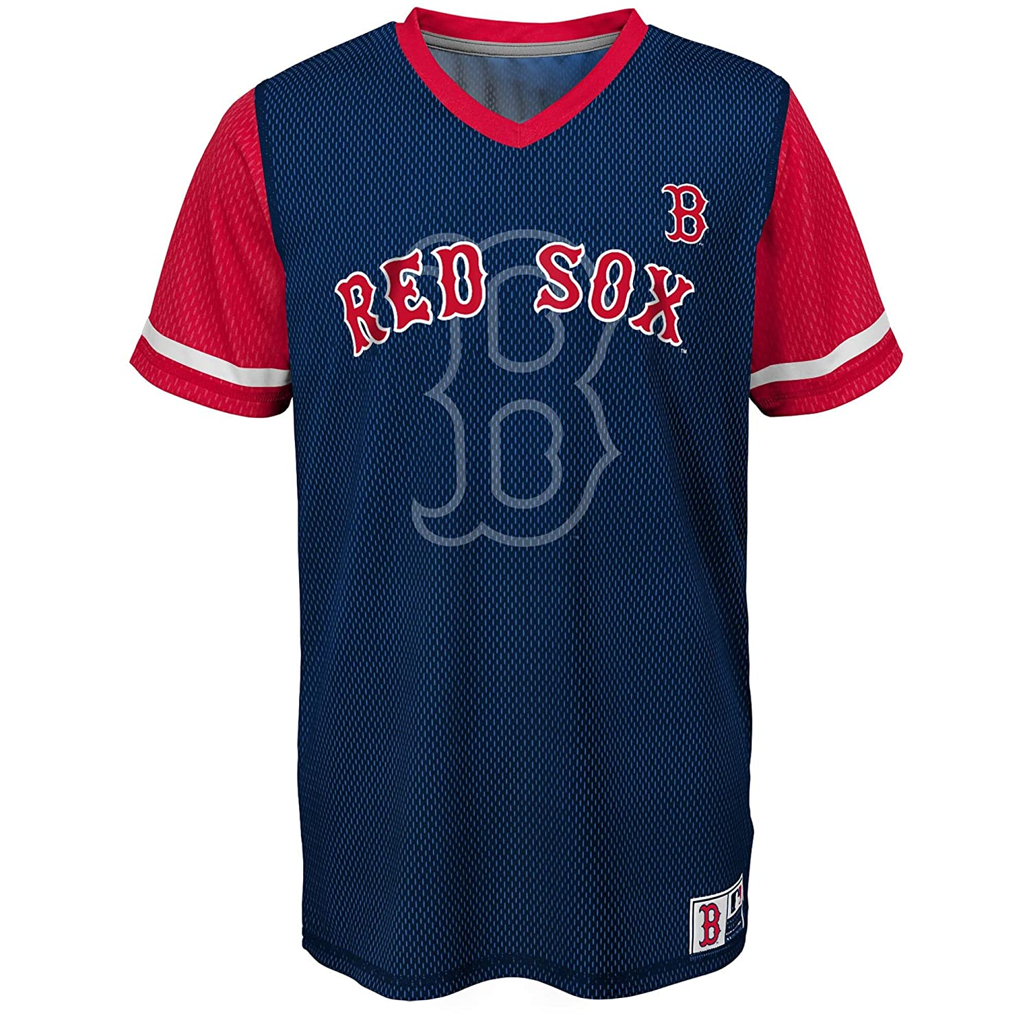 Outerstuff Cleveland Indians Word Mark Navy Blue Youth Cool Base Alternate Jersey