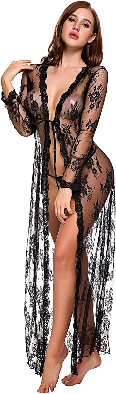 Lingerie for Women Sexy Long Lace Dress Sheer Gown See Through Kimono Robe: Clothing