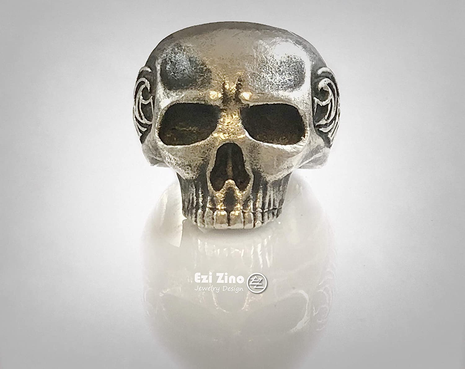 SILVERLAND1 Waves Skull Solid Sterling Silver 925 Ring by Ezi Zino