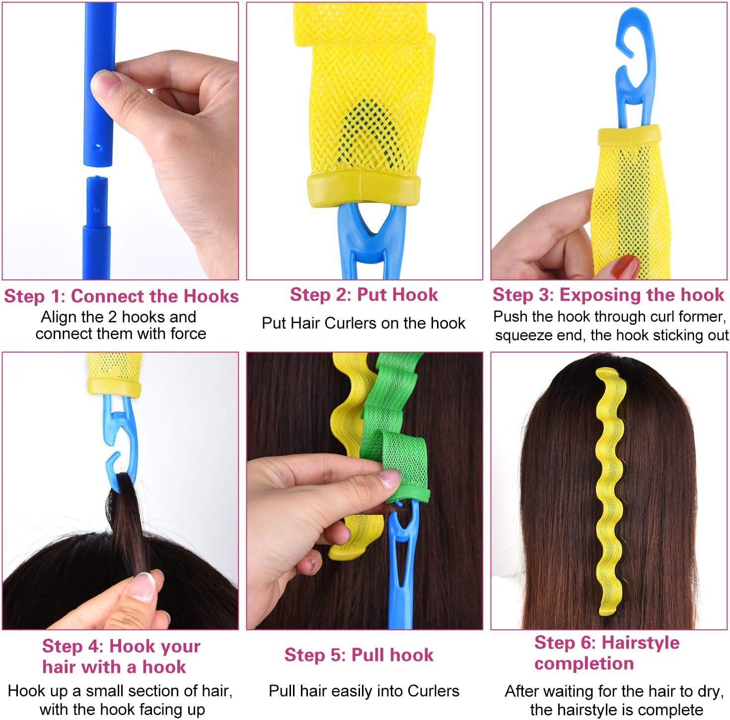FEPITO 36 Paquete Magic Hair Rodillos Kit de los bigudíes espiral rizos Wave Hair Styling Sin calor rizador de pelo y estilo ganchos para todas las longitudes de pelo, 45cm / 18inch: