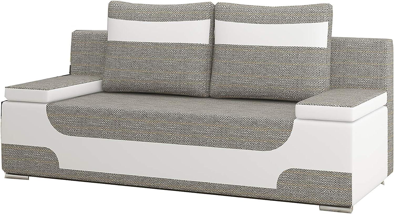 E-MEUBLES Canap/é en lit Convertible avec Coffre de Rangement 3 Places Relax Berlin 03+ Soft 33 en Tissu et Simili Cuir-Andrea Beige + Beige