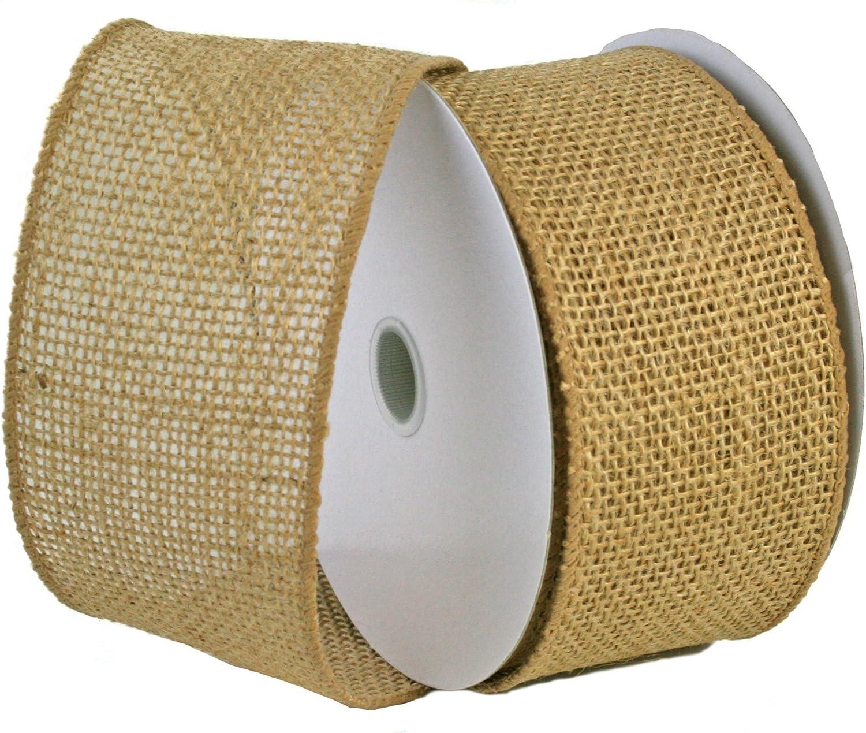 "Premium Jute Craft Decor Bows Wired Edge 10 Yards 4/"" Natural Burlap Ribbon"