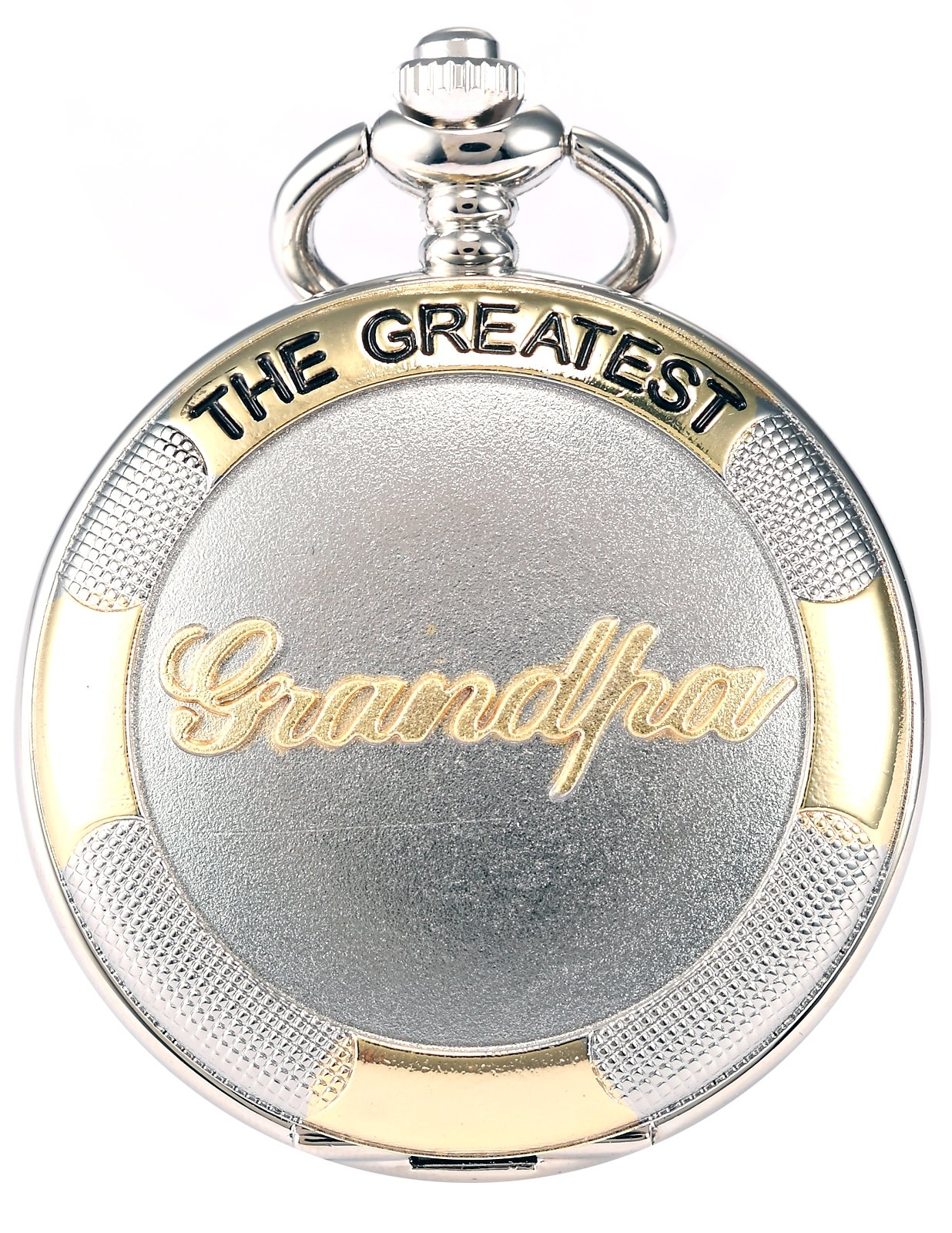 AMPM24 Silver Case Mens Pocket Watch, Silver Lid Cover Full Hunter Golden Grandpa Quartz Analog Rome Numeral Dial Men Pocket Watch with Chain Hook Fob, Gift for Father Dad