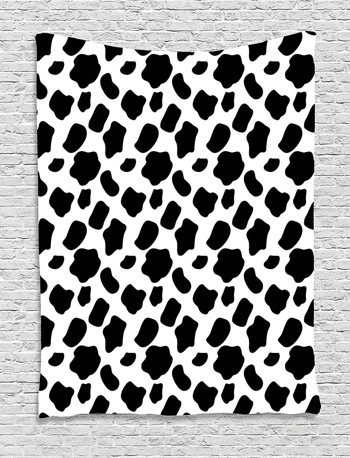 Cow Print Tapestry, Cattle Skin Pattern with Scattered Spots Animal Hide Plain and Pasture Print, Wall Hanging for Bedroom Living Room Dorm, 60 W X 80 L Inches, White Black