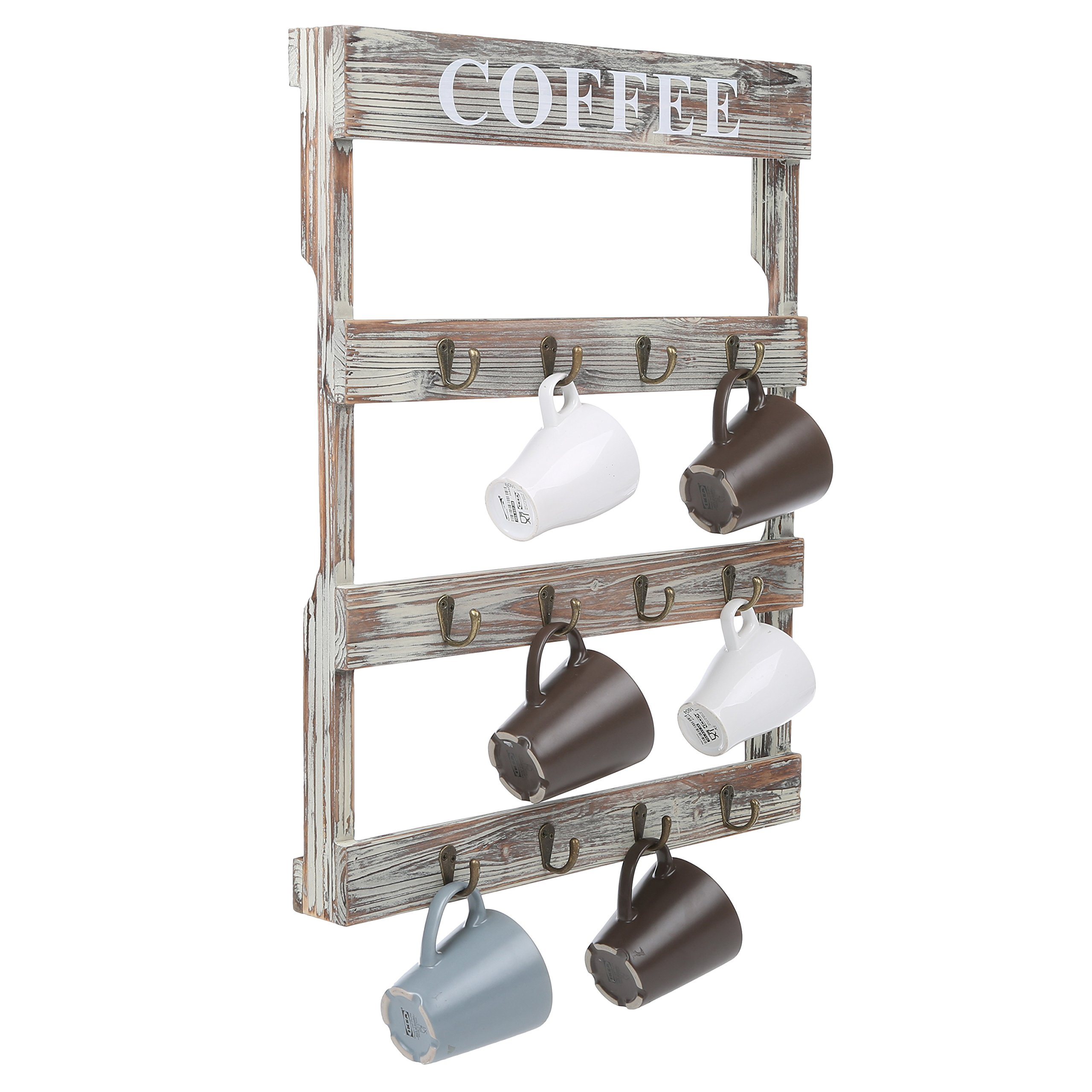 MyGift 12-Hook Rustic Wall-Mounted Wood Coffee Mug Holder, Kitchen Storage Rack, Brown by MyGift