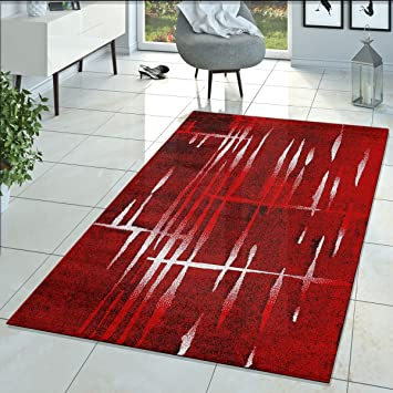 Tapis Moderne Salon Matrice Design Poils Ras Chiné Rouge Noir Crème,  Dimension:70x140 cm