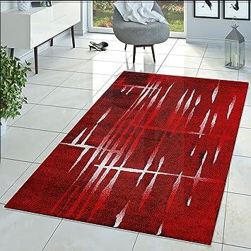 Moderner Wohnzimmer Teppich Matrix Design Kurzflor Meliert Rot Schwarz Creme,  Größe:70x140 Cm
