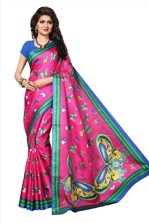 Shonaya Women`S Pink Colour Khadi Jute Silk Printed Saree RTKJS-1021