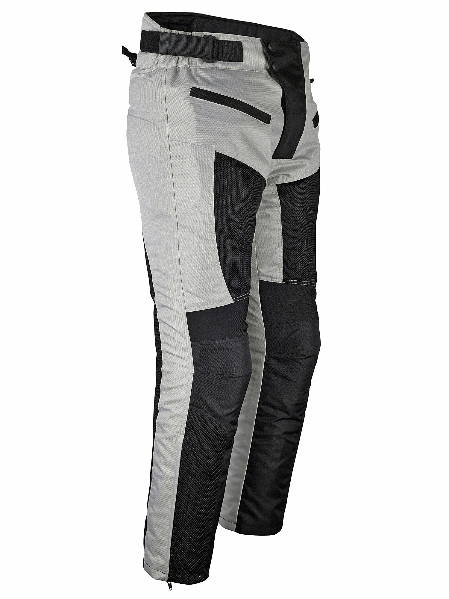 Mens Motorcycle Riding Pants Grey Black Mesh with CE Approved Armor by WICKED STOCK