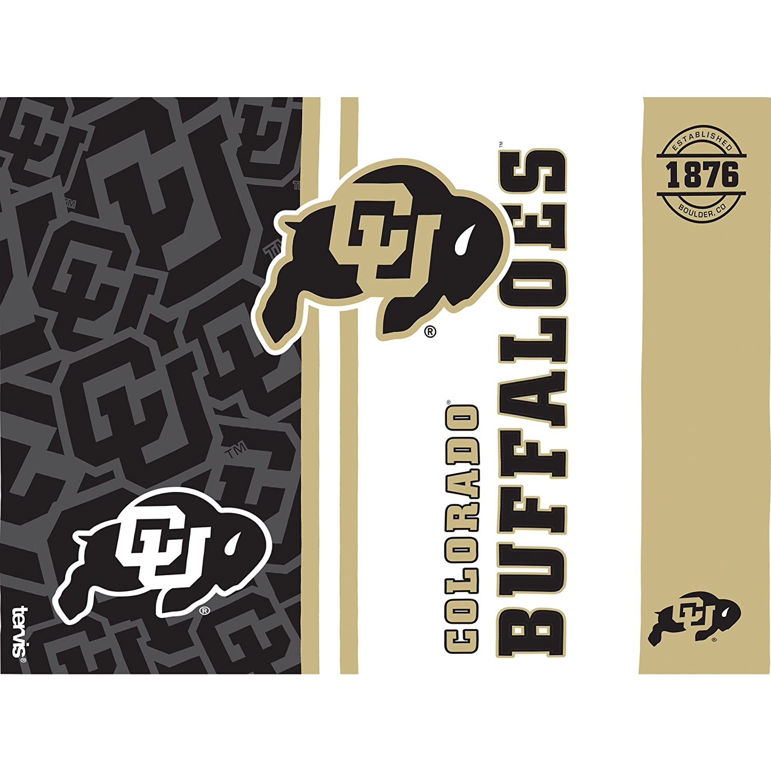 Clear Tervis 1226827 Colorado Buffaloes College Pride Tumbler with Wrap and Black Lid 24oz