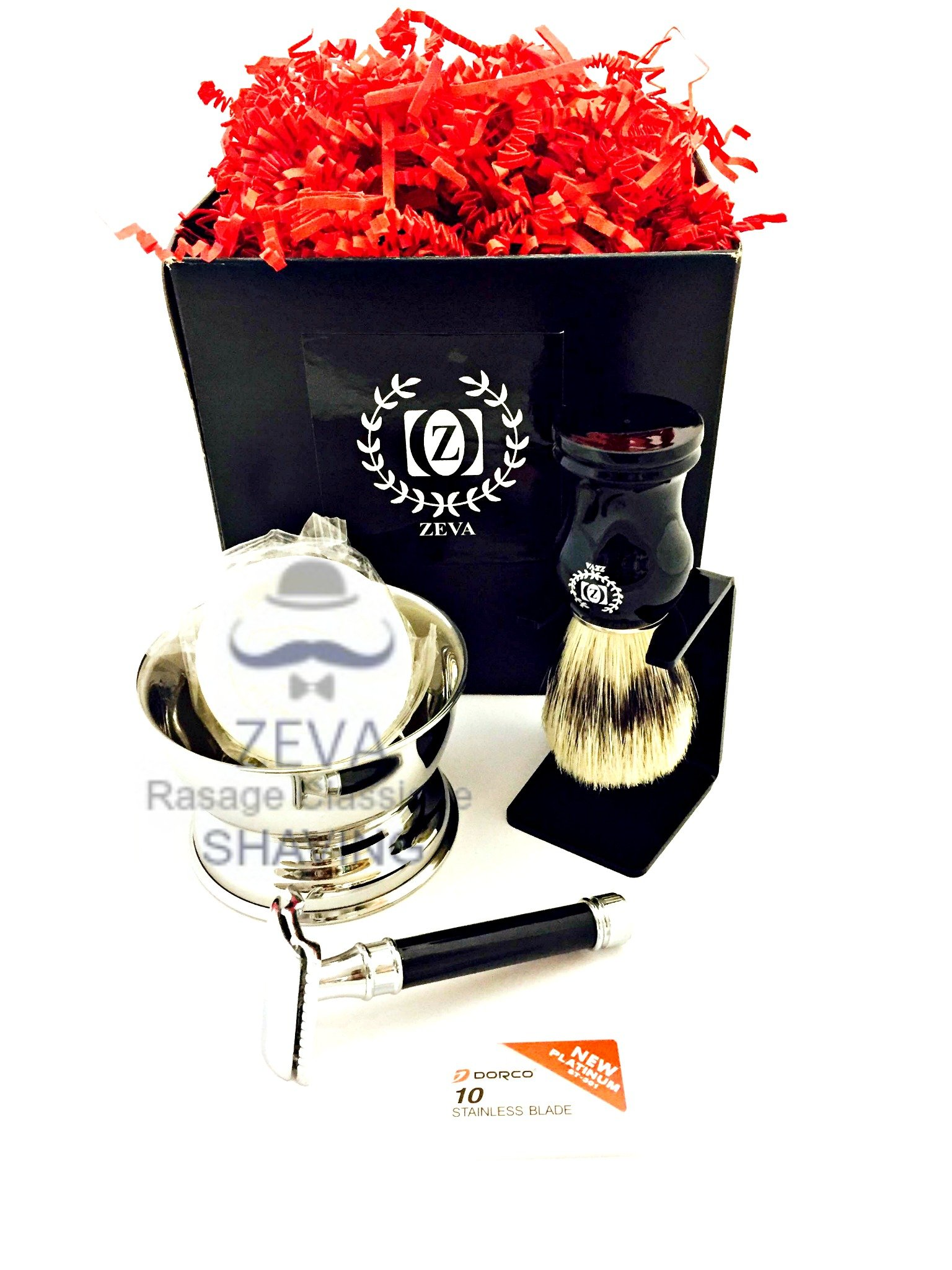 Mens Straight Shaving Set Boar Hair Shaving Brush Classic Double Edge Safety Razor Mens Grooming Gift Set