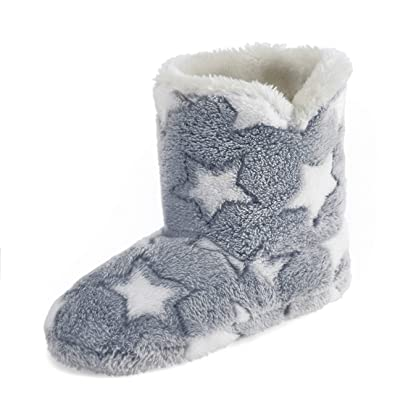 Ladies Womens Girls Star Sequin Cream Grey Fur Slipper Plush Boots - Grey  Cream Size 3 4 5 6 7 8  Amazon.co.uk  Shoes   Bags 474d8b02c