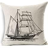 "Decorbox Cotton Linen Pillow Cover Antique Boat Cushion Cover throw Pillow Cover 18"" x 18"""