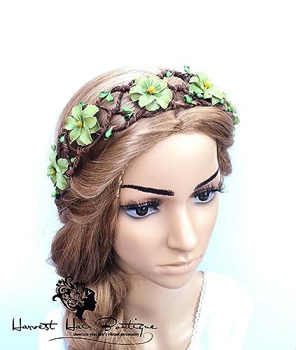 Amazon.com  Large Retro Flower Crown    Whimsical green flower hair circlet  for a hippie boho wedding    Floral headband for women or teen  Handmade 0a3be95026c