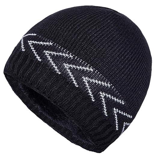 288f172424c YSense Mens Winter Hats Warm Knit Beanie Plain Fleece Lined Cuff Toboggan  Skull Cap
