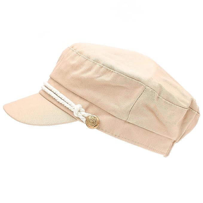 aa17bce0 MIRMARU Women's 100% Cotton Greek Fisherman's Sailor Fiddler Hat Cap (47105-BEIGE)