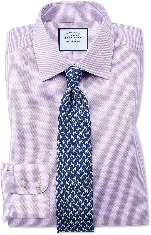 Charles Tyrwhitt Camisa sin Plancha Lila Slim fit con diseño Micro Pata de Gallo