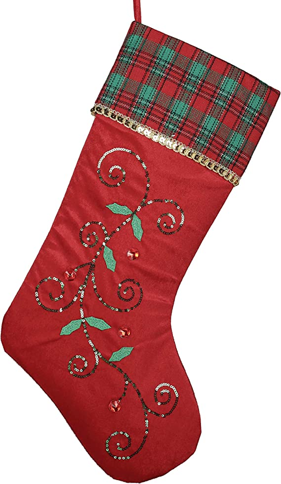 Amazon Com Valery Madelyn 21 Inch Traditional Holly Leaves Christmas Stockings With Red Green Tartan Cuff Themed With Tree Skirt Not Included Home Kitchen