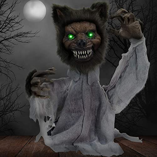 Haunted Hill Farm HHFJWOLF-1LSA 21 in. Groundbreaker Animotronic Werewolf