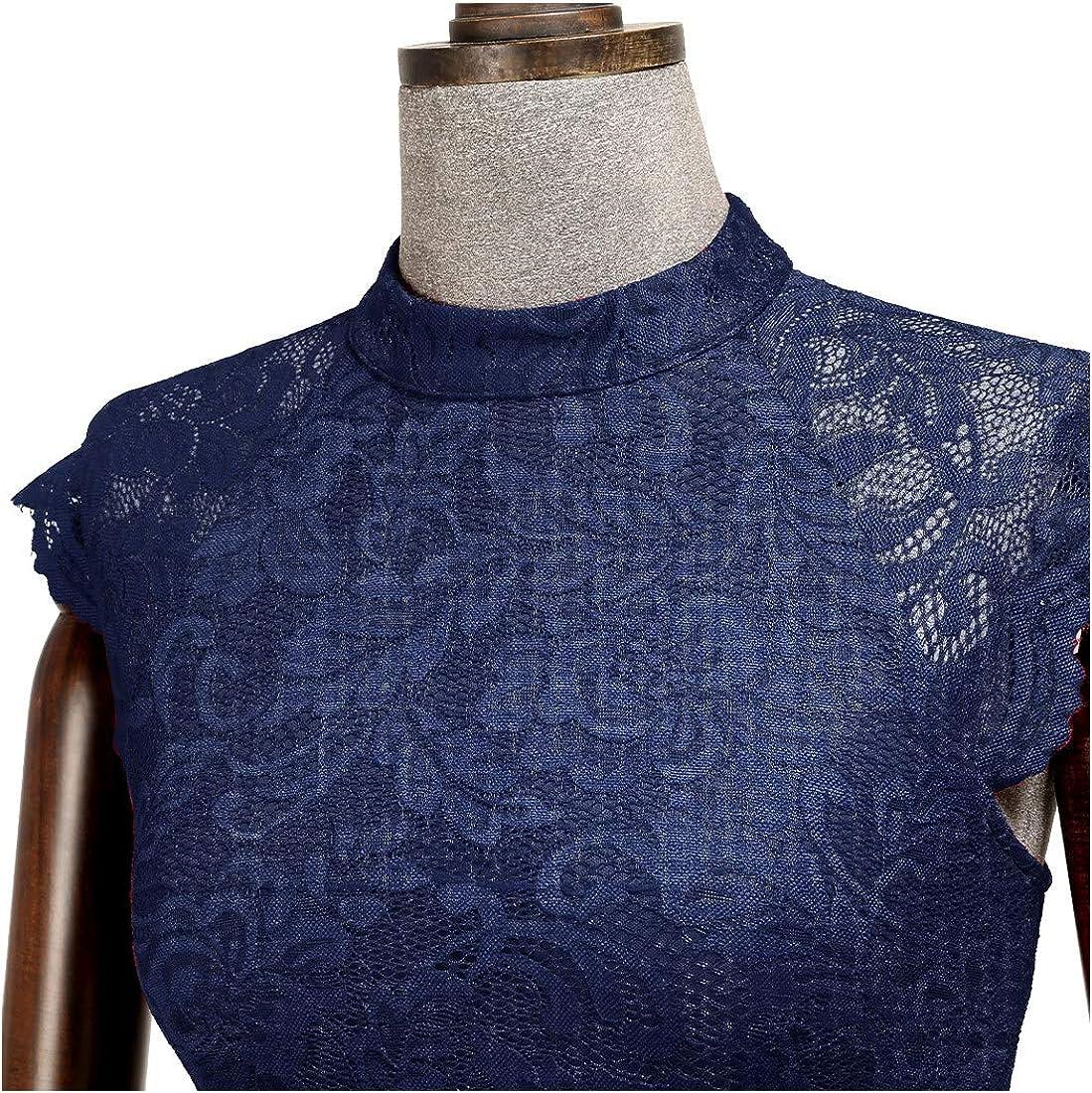Miusol Vintage Dentelle Mousseline Maxi Robe de Soir/ée Femme