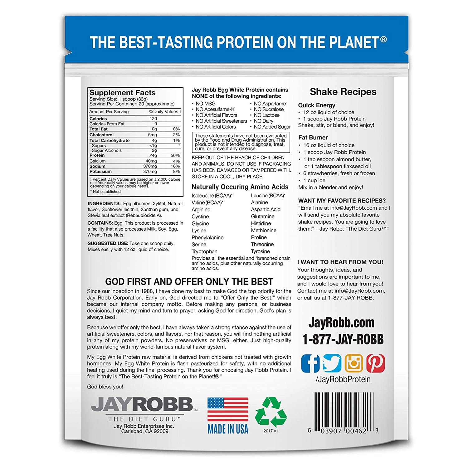 Amazon.com: Jay Robb - Egg White Protein Powder, Outrageously Delicious, Vanilla, 21 Servings (24 oz): Health & Personal Care