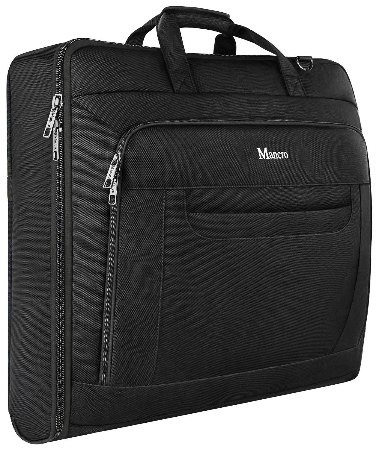Carry On Garment Bag, Travel Garment Bags for Business Trips With Shoulder Strap, Mancro Waterproof Foldable Luggage Suit Bags for Men Women, 2 in 1 Hanging Suitcase for Dresses,Suits,Coats (Black)