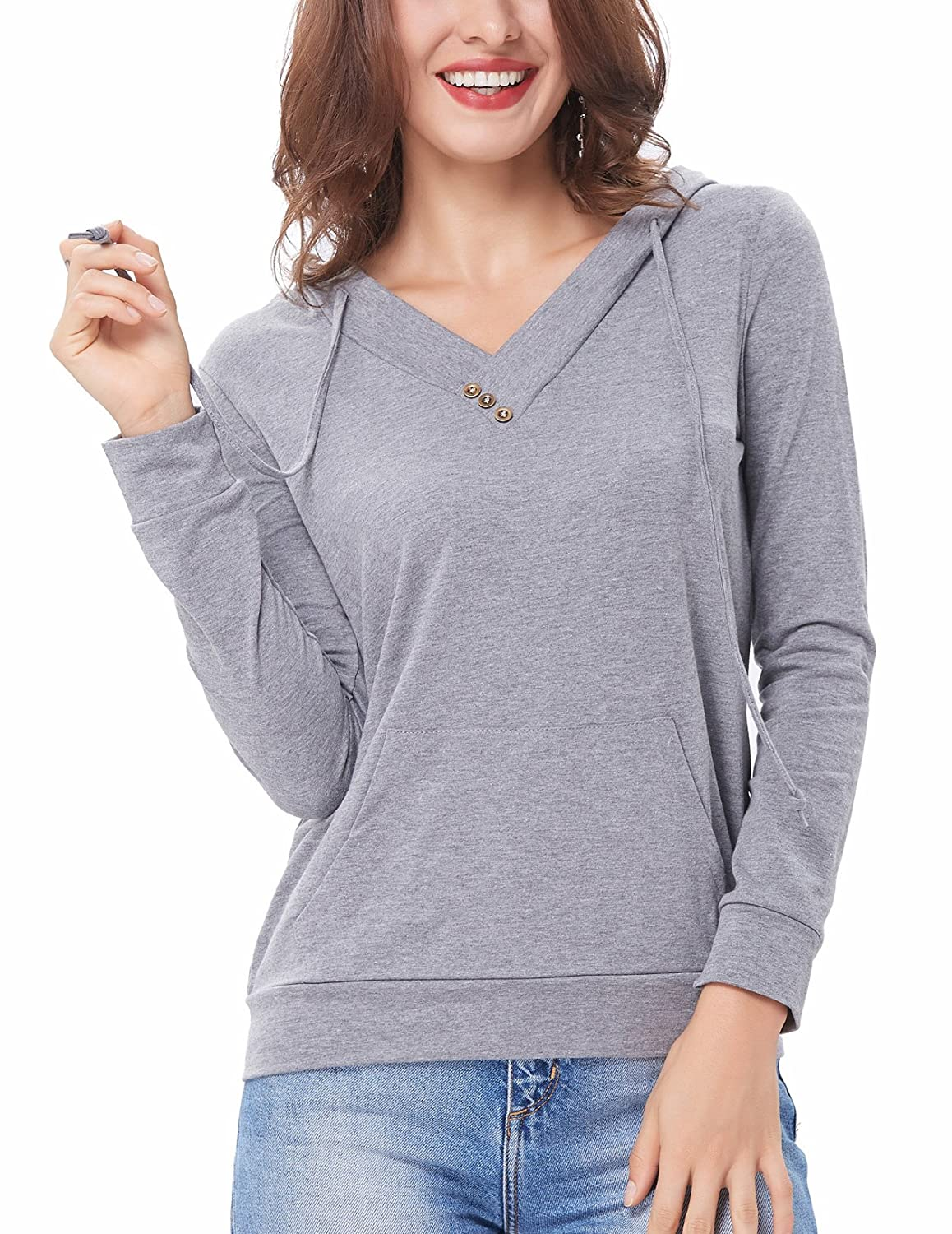 f7307127 Kangaroo pocket hide your small belly, holds items, phone or keys. Long  sleeve, Slouchy V Neck, ...