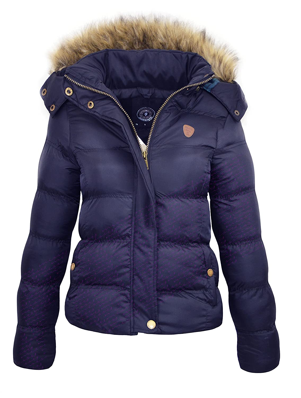 M1427 New Womens Ladies Quilted Winter Coat Puffer Fur Collar Hooded Jacket Parka Size HOPPJKT 2017 HOPPJKT1