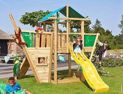 Jungle Gym Hut Boat Amarillo Parques Infantiles de Madera para Jardin con Tobogan: Amazon.es: Juguetes y juegos