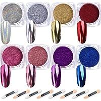 Polvo de uñas Wenida 8 colores 0.04 oz/tarro Premium espejo láser de resina sintética