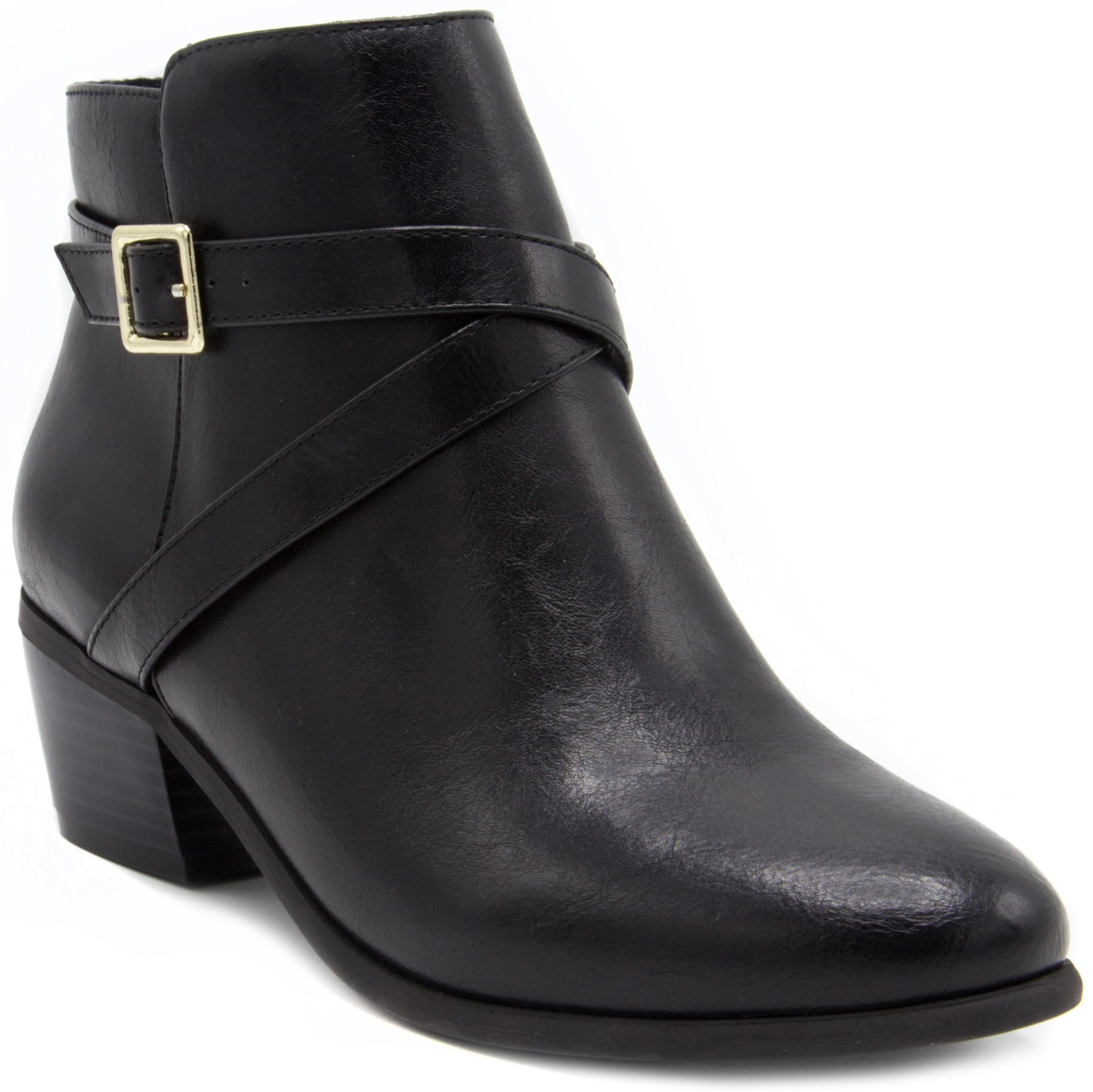 London Fog Womens Halifax Heeled Ankle Booties Black 6 by London Fog