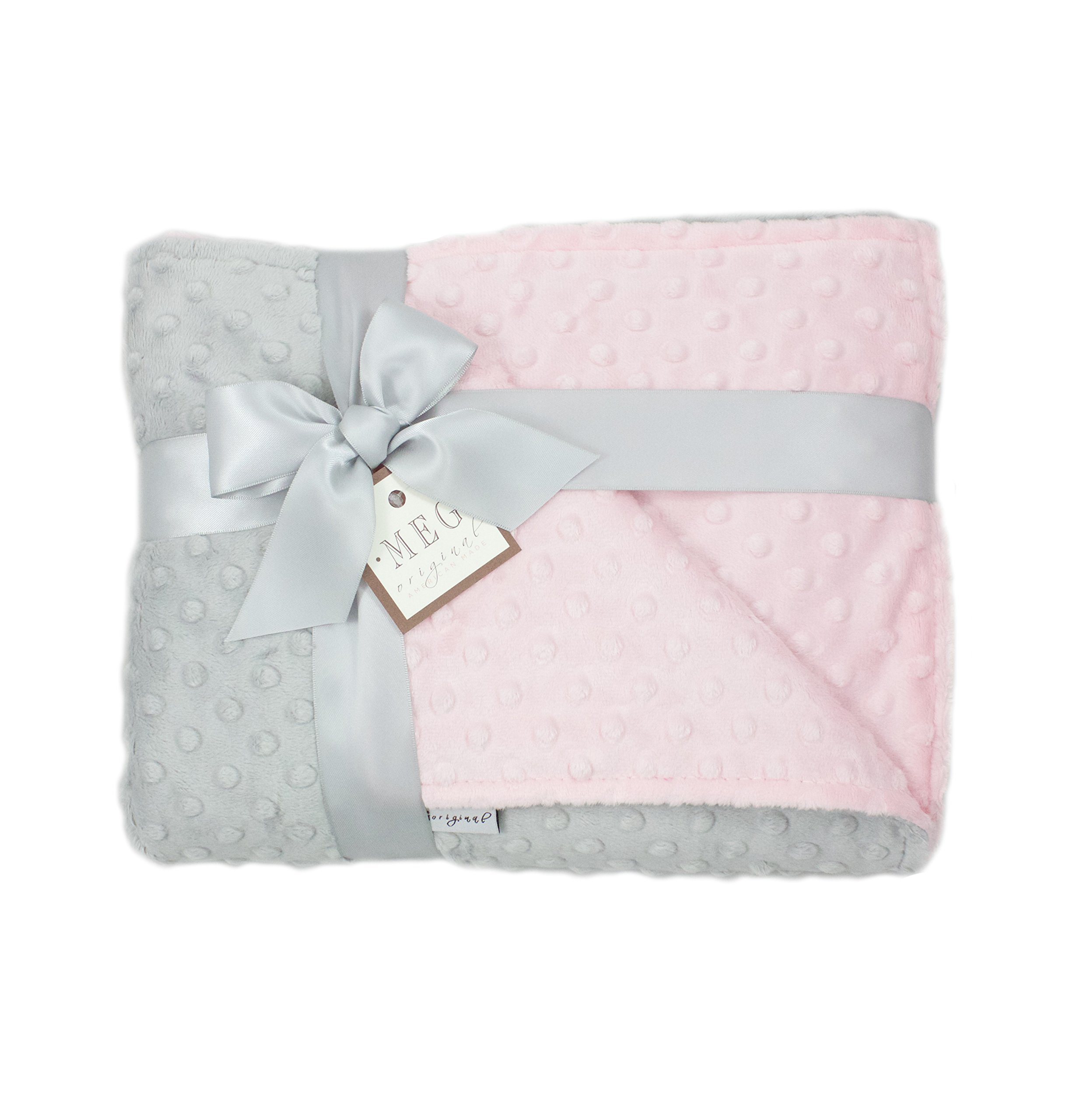 MEG Original Pink & Gray Minky Dot Baby Girl/Toddler Crib Blanket 6777