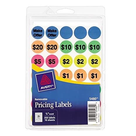 Avery Preprinted Removable Garage Sale Labels, 0 75 Inches, Round, Pack of  350 (5480)