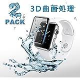 【全面保護】aiMaKE Apple Watch 42mm フィルム Apple Watchフィルム 3D曲面処理 完全防水 HD画面対応 気泡防止 装着簡単 Apple Watch 強化ガラス ブラック(2枚入り, 黒)