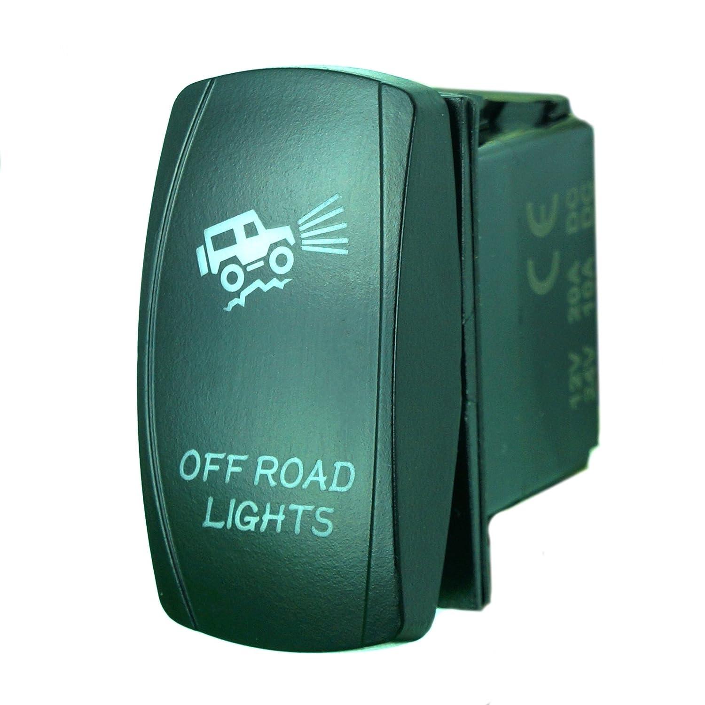 Rocker switch zombie lights led light bars amp off road lighting - Amazon Com Laser Green Rocker Switch Off Road Lights 20a 12v On Off Led Light Automotive