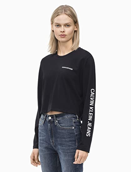 0236930cc150 Calvin Klein Jeans Sleeve Institutional Cropped W Longsleeve Black:  Amazon.co.uk: Clothing