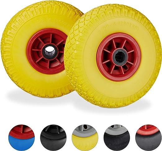 jante 25mm set de 2 roue de rechange axe 260x85mm jaune rouge brouette caoutchouc 3.00-4 80 kg relaxdays