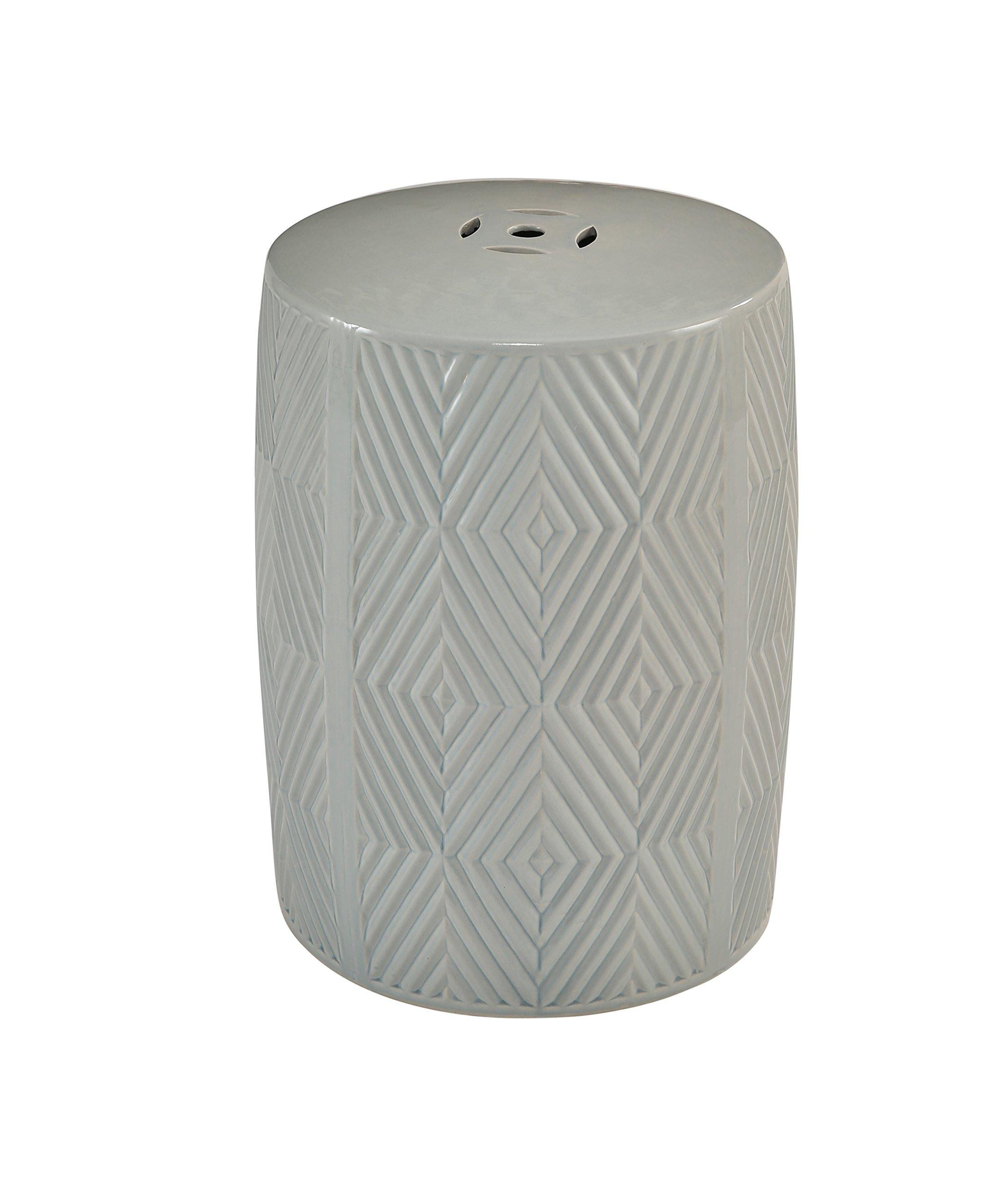 Abbyson® Rayce Ceramic Garden Stool, Grey