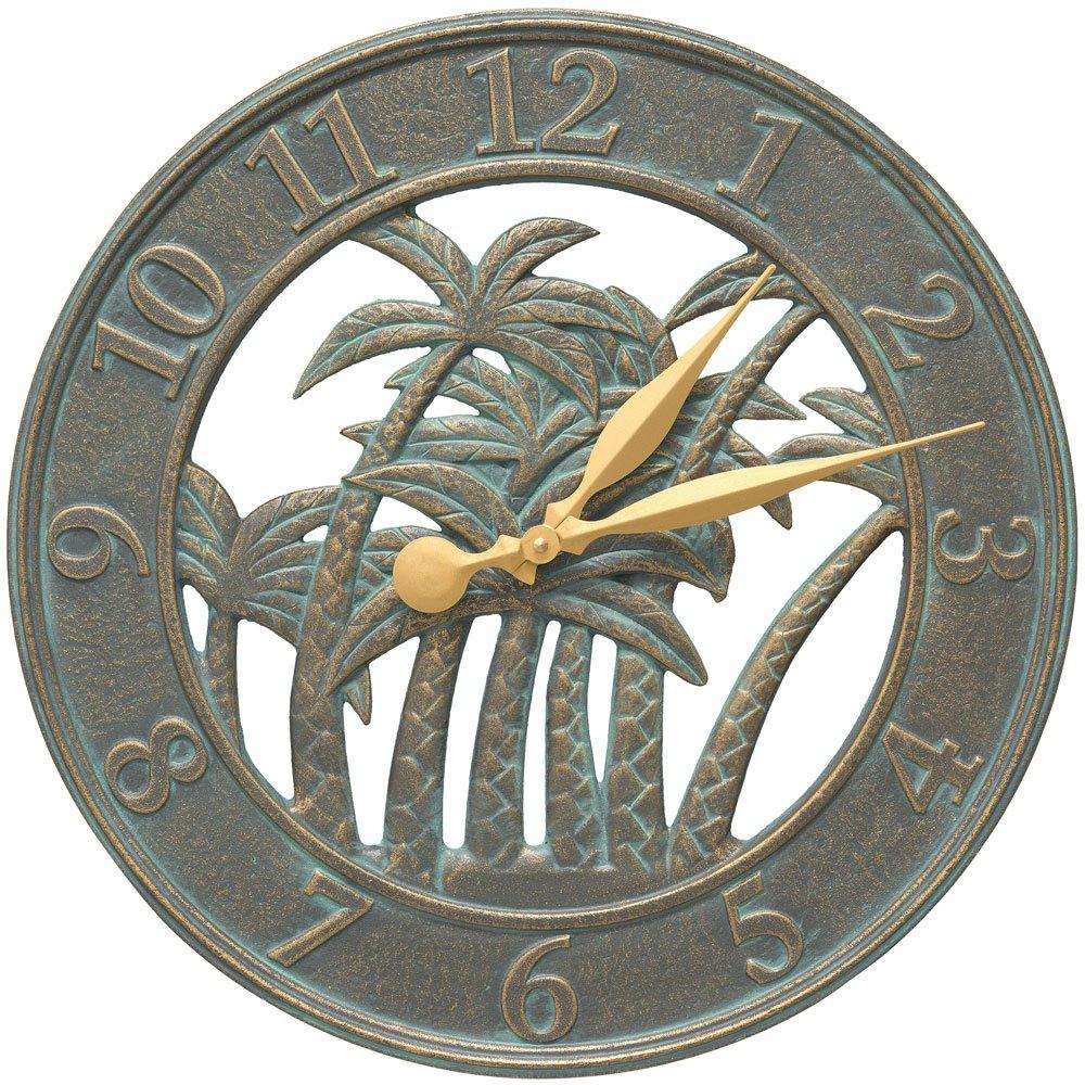 SKB family Outdoor Clock - Palm Tree, 18'' x 18'' x 1.25'' x 10 lbs, Bronze Verdi