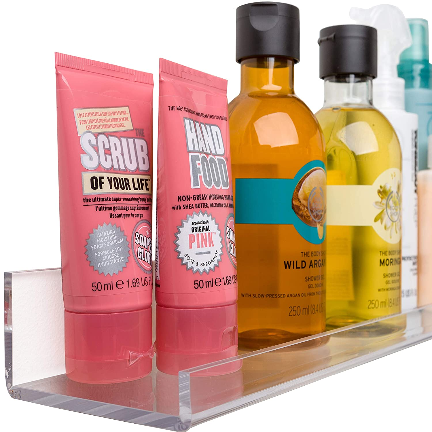 Acrylic Bathroom Shelves [10 inch] - Space Saving: Rustproof & Extra Strong 5mm Thick Floating Small Shelf (Set of 2) by Pretty Display, Size 10 x 3 inch & Includes Fittings - Easy to Wall Mount