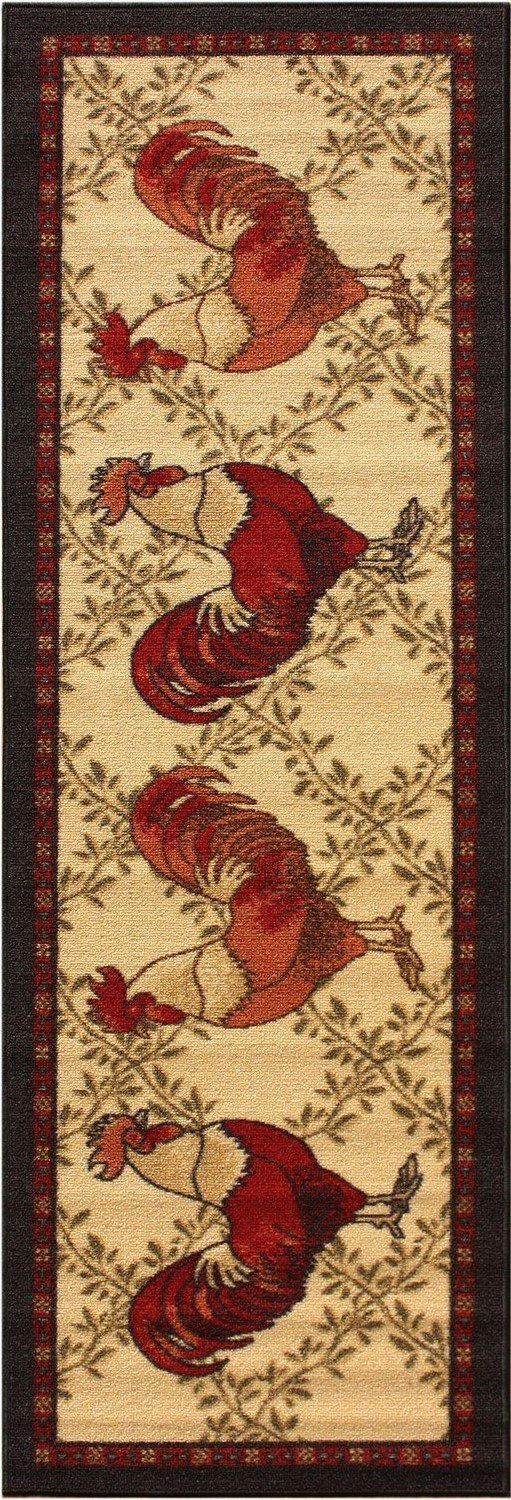 "Kitchen Collection Rooster Beige Multi-Color Printed Slip Resistant Rubber Back Latex Contemporary French Country Kitchen Runner Area Rug (Rooster, 23"" x 7"