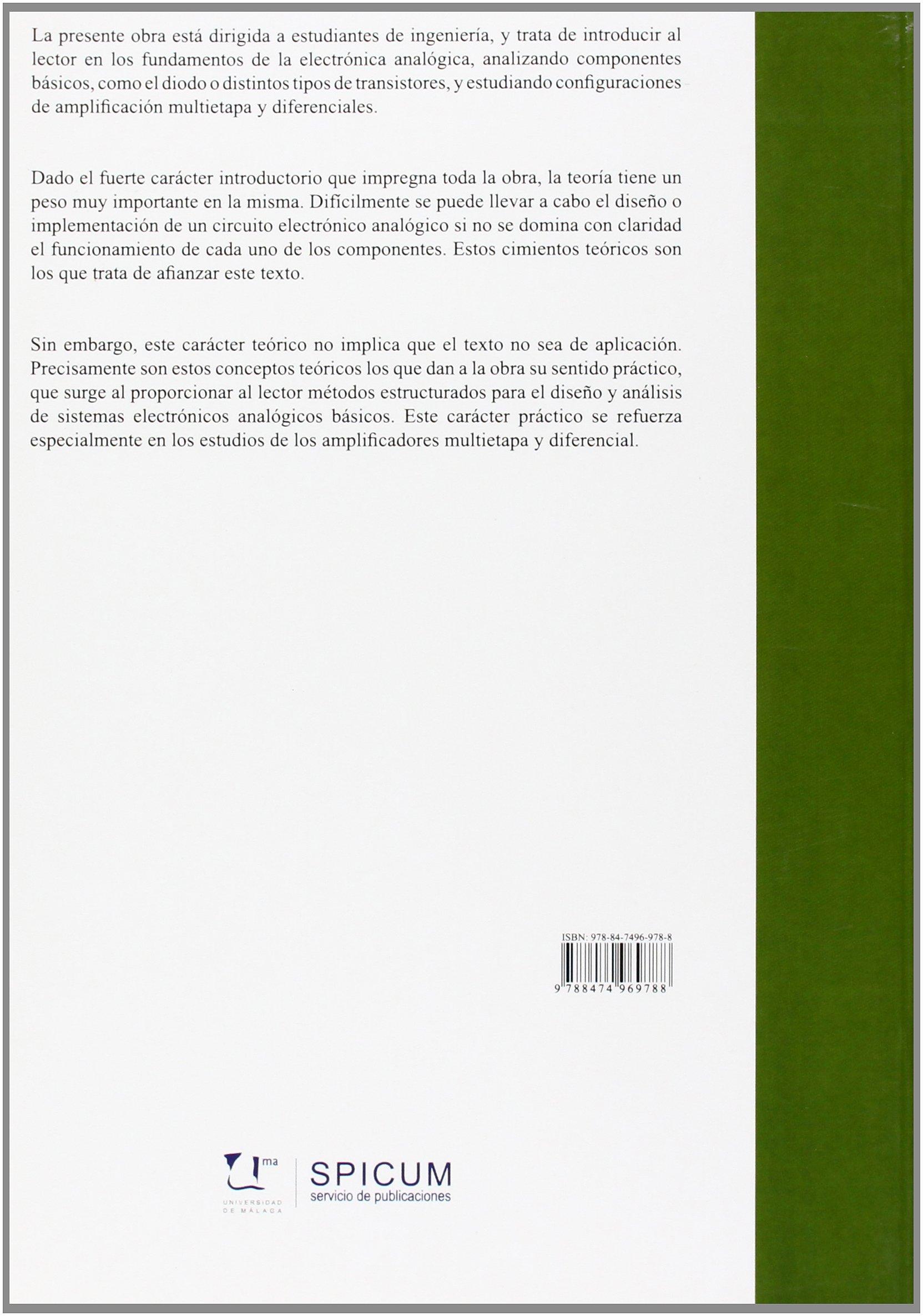 Fundamentos de Electrónica Analógica (Manuales): Amazon.es: Antonio J. Bandera Rubio, Eduardo Casilari Pérez, Concepción Téllez Labao, Juan Manuel Romero ...