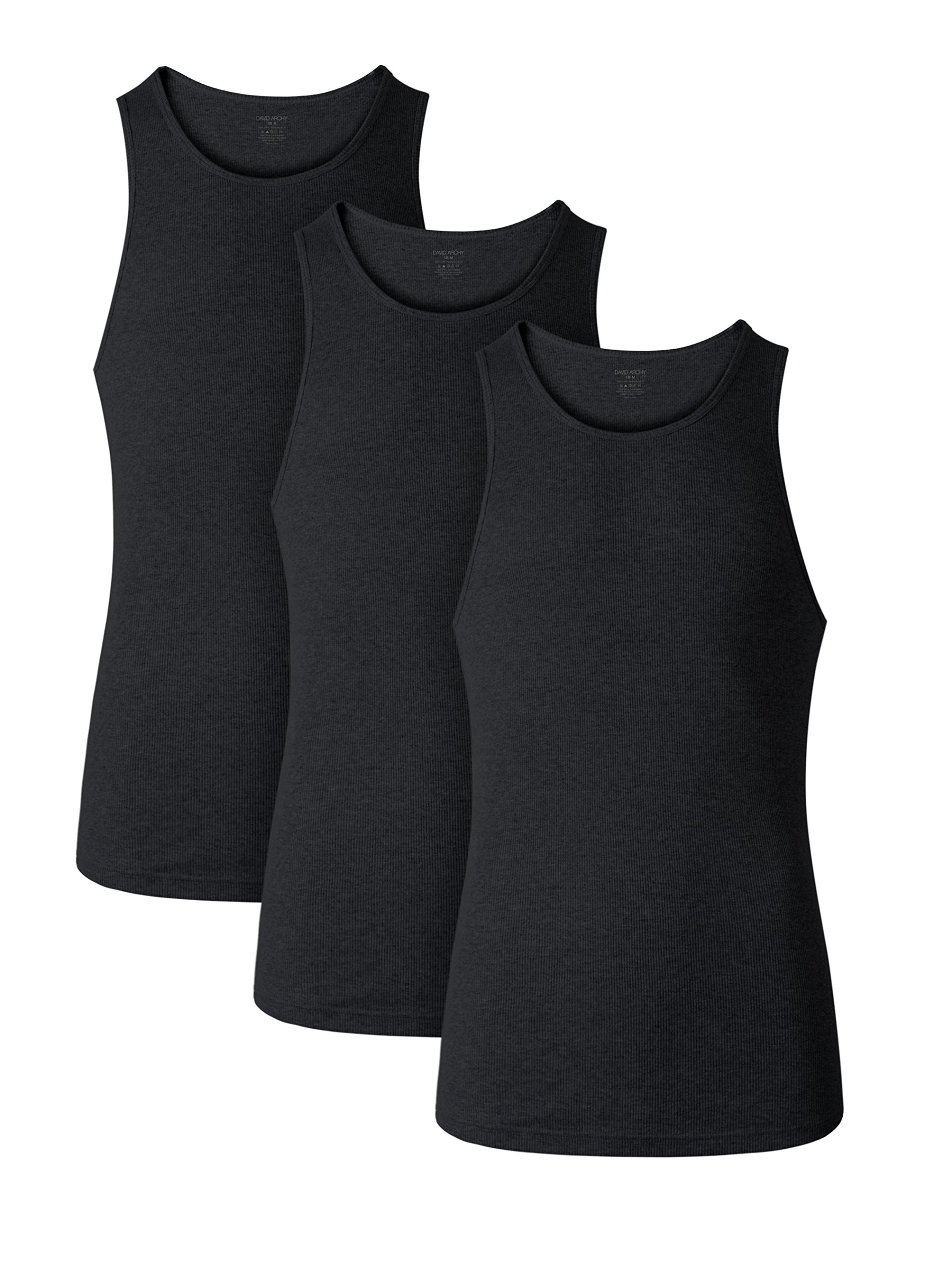 David Archy Men's 3 Pack Cotton Rib Tank Top A-Shirts Sleeveless Workout Undershirts(Black,S)