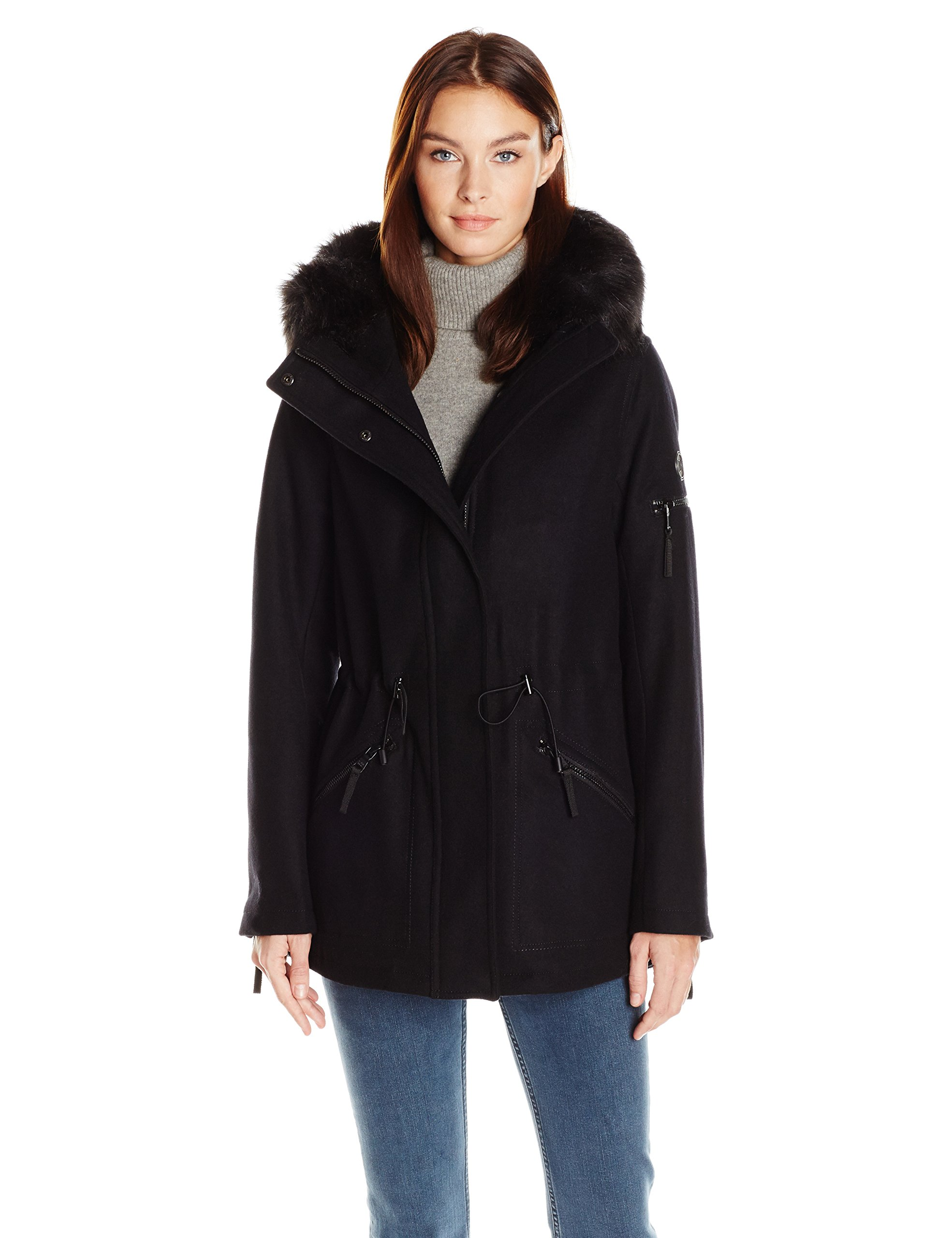 Calvin Klein Women's Anorak Wool Faux Fur Trimmed Coat, Black, XL