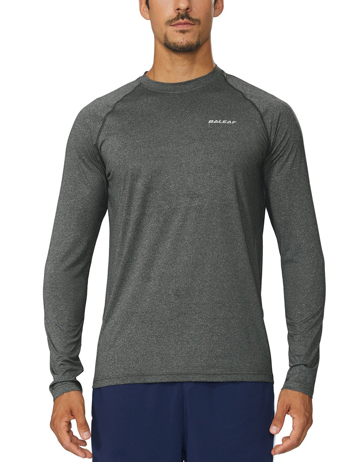 Baleaf Men's Cool Running Workout Long Sleeve T-Shirt Grey Heather LT by Baleaf