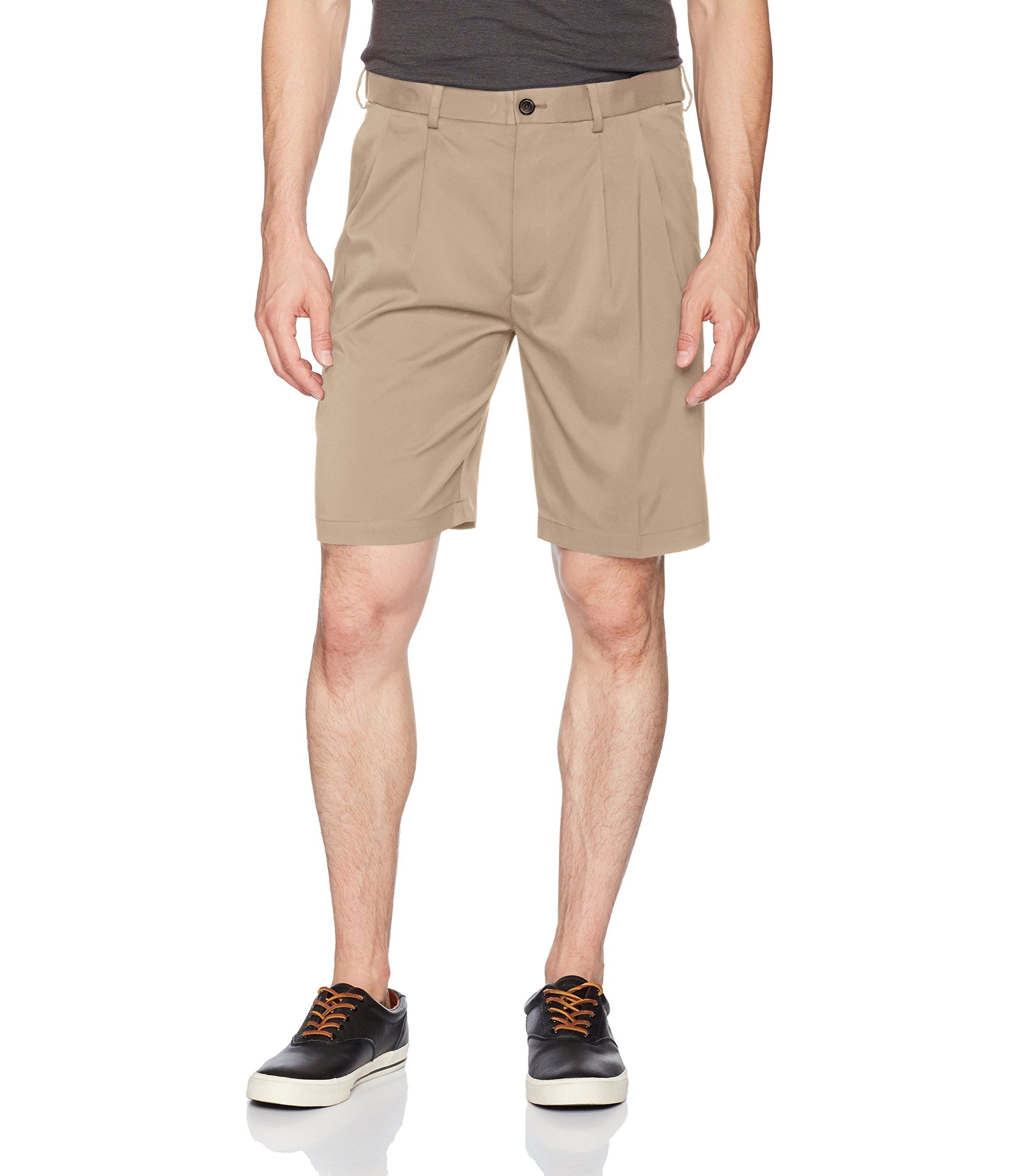 Savane Men's Pleated Mirco Fiber Short, Chinchilla, 40